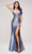 J'Adore - J17037 Metallic Glitter High Slit Mermaid Gown Special Occasion Dress 2 / Electric Blue