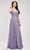 J'Adore - J17040 V Neck A-Line Evening Dress Special Occasion Dress 2 / Smoke