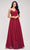J'Adore - J17040 V Neck A-Line Evening Dress Special Occasion Dress 2 / Wine
