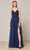 J'Adore - J18008 Lace Tulle V Neck A-line Gown Special Occasion Dress 2 / Navy