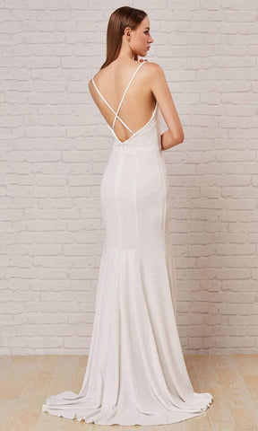 J'Adore - J18033 Spaghetti Strap Glitter High Slit Gown Special Occasion Dress 2 / Ivory