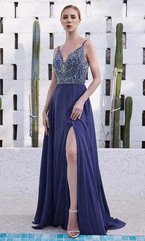 J'Adore - JM103 V-Neck Crystal Beaded Bodice Chiffon A-Line Gown In Blue