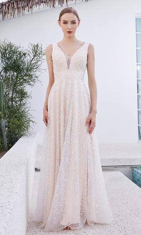 J'Adore - JM107 Sleeveless Low V Back Beaded Tulle A-Line Gown In Neutral and Yellow
