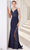 J'Adore - JM113 Metallic Embroidery Sheer Side Mermaid Gown Special Occasion Dress 2 / Navy
