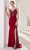 J'Adore - JM113 Metallic Embroidery Sheer Side Mermaid Gown Special Occasion Dress 2 / Wine