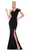 Jadore - J6016 Asymmetric Neoprene Trumpet Dress Special Occasion Dress 2 / Black