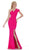 Jadore - J6016 Asymmetric Neoprene Trumpet Dress Special Occasion Dress 2 / Hot Pink