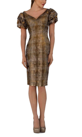 Janique - 1194 Knee Length Puff Sleeve Sheath Dress Cocktail Dresses 4 / Bronze