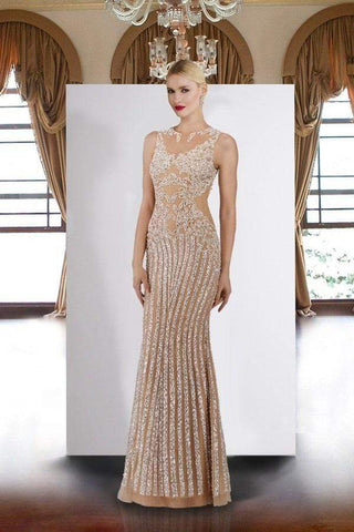 Janique - 17007 Sparkly Nude Illusion Evening Gown In Ivory Special Occasion Dress 0 / Ivory