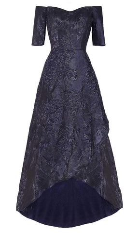 Janique - 61022 Off Shoulder Jacquard High Low A-line Dress Mother of the Bride Dresses 2 / Navy