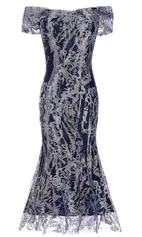 Janique - 62122 Tea Length Embroidered Lace Ombre Dress Cocktail Dresses 2 / Navy