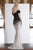 Janique - A18375 Draped Off Shoulder Mermaid Gown In Black / White Special Occasion Dress