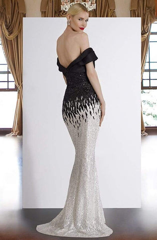 Janique - A18375 Draped Off Shoulder Mermaid Gown In Black / White Special Occasion Dress 0 / Black / White
