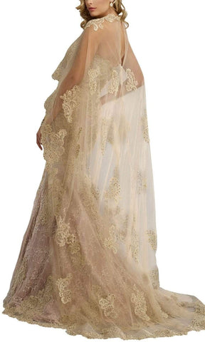 Janique - Embroidered Sweetheart Lace Evening Gown with Sheer High-Low Shawl W1718 Special Occasion Dress 10 / Champagne