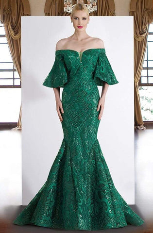 Janique - JA4013 Off-Shoulder Mermaid Evening Dress In Emerald Special Occasion Dress 0 / Emerald