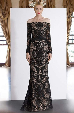 Janique - JA4017 Off-Shoulder Long Sleeves Lace Dress In Black / Nude Special Occasion Dress 0 / Black / Nude