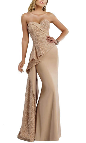 Janique - Splendid Strapless Assymetrical Peplum Mermaid Gown W1674 Special Occasion Dress 10 / Champagne