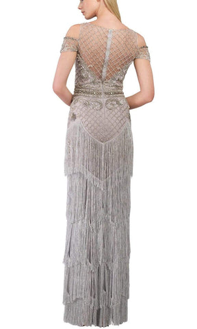 Janique - W1683 Embellished Illusion Bateau Fringe Sheath Gown Special Occasion Dress 0 / Silver