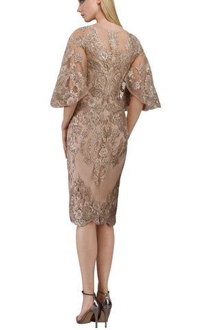 Janique - W2068 Quarter Tulip Sleeves Lace Appliqued Sheath Dress Special Occasion Dress 0 / Champagne