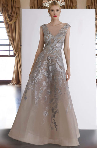 Janique - W2186 Embroidered Cap Sleeve A-line Gown Evening Dresses 4 / Silver