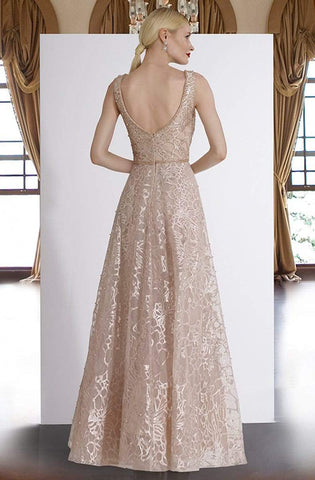 Janique - W2309 Beaded Lace A-Line Evening Gown Prom Dresses 2 / Blush