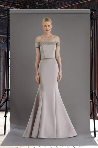 Janique - W2410 Embellished Off-Shoulder Mermaid Gown With Train Mother of the Bride Dresses 2 / Silver