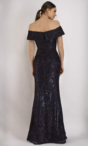 Janique - W2520 Beaded Lace Off-Shoulder Trumpet Gown - 2 pcs Navy in Size 8 and 12 Available CCSALE 8 / Navy