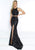 Jasz Couture - 6488 Two Piece Sequined Halter Trumpet Dress Evening Dresses 000 / Black