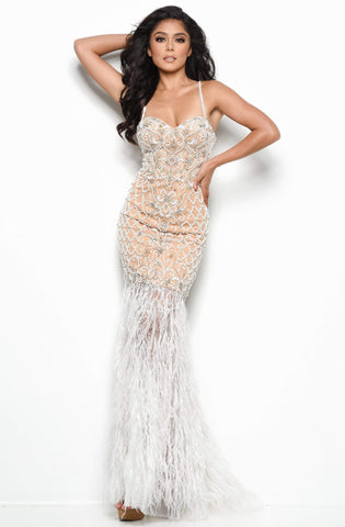 Jasz Couture - 7079 Beaded Sweetheart Fringe Dress