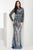 Jasz Couture - Sheer Long Sleeve Beaded Gown 5970 Special Occasion Dress 0 / Blue/Nude