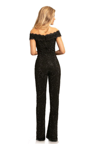 Johnathan Kayne - 9237 Illusion Cutout Off Shoulder Lace Jumpsuit Special Occasion Dress 00 / Black
