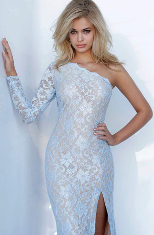Jovani - 02168 Asymmetrical Beaded Lace Sheath Dress Prom Dresses 00 / Light-Blue