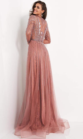 Jovani - 04698 Long Sleeve Geometric Beaded A-Line Gown Evening Dresses 00 / Old Rose