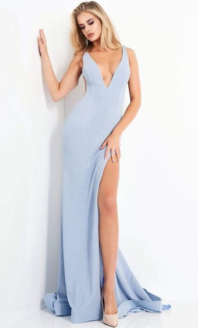 Jovani - 04998 Plunging V Neck Ravishing High Slit Glitter Gown