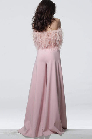 Jovani - 1542 Feathered Strapless Jumpsuit Evening Dresses 00 / Blush