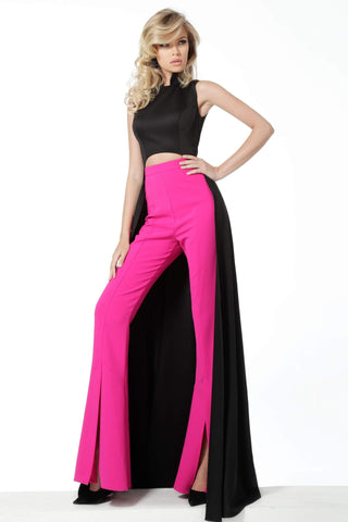Jovani - 3377 Two-Piece Jumpsuit with Overskirt Evening Dresses 00 / Black/Fuchsia