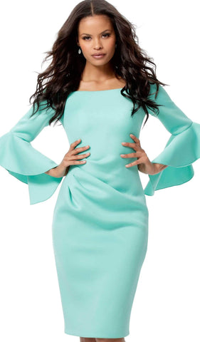 Jovani - 59992 Flounced Long Sleeve Off Shoulder Sheath Dress