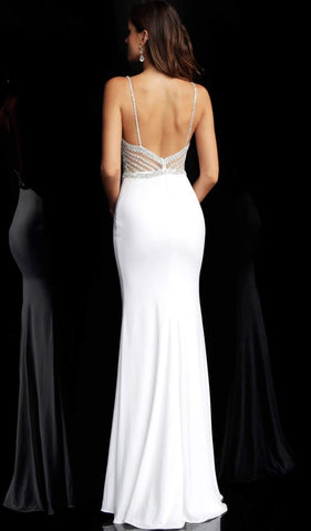 Jovani - 63147 Geometric Crystal Beaded Illusion Gown Evening Dresses 00 / Off-White