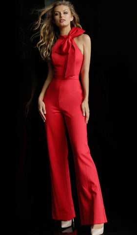 Jovani - 63523 Sleeveless High Neck Jumpsuit With Bow Detail