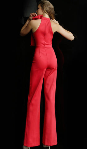 Jovani - 63523 Sleeveless High Neck Jumpsuit With Bow Detail Special Occasion Dress 00 / Red