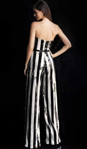 Jovani - 65397 Strapless Striped Sequined Jumpsuit Special Occasion Dress 00 / Black/White