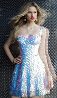 A-line Sleeveless Natural Waistline Hidden Back Zipper Open-Back Sequined Fitted Sweetheart Cocktail Above the Knee Fit-and-Flare Homecoming Dress/Party Dress