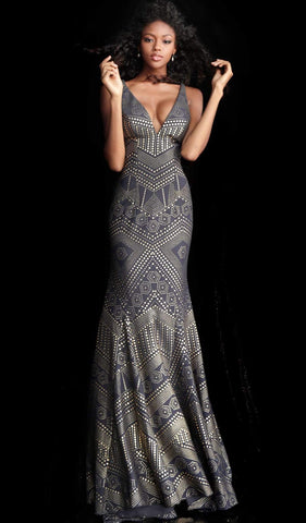 Jovani - 67844 Embellished Deep V-neck Mermaid Dress With Train