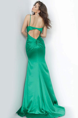 Jovani - 67862 Satin V-neck Trumpet Dress With Train Evening Dresses 00 / Green