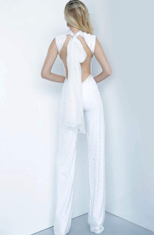 Jovani - 67941 Plunging High Neck Fitted Jumpsuit Evening Dresses 00 / Off-White
