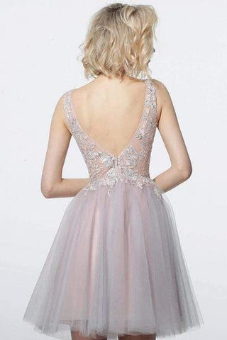 Jovani - Applique A-Line Cocktail Dress 3939SC - 1 pc Blush In Size 00 Available CCSALE 00 / Blush