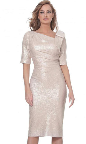 Jovani - Asymmetric Neck Knee Length Fitted Dress 03641SC - 1 pc Light Gold In Size 4 Available