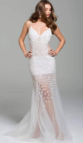 Jovani - Beaded Plunging V-neck Tulle Trumpet Dress 60695SC - 1 pc Off-White In Size 8 Available