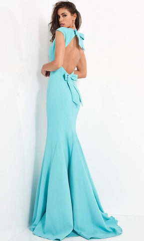 Jovani - Bow Ornate Cutout Back Mermaid Dress 04098SC - 1 pc Turquoise In Size 0 Available