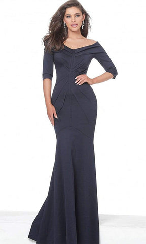 Jovani - Drape Ornate Off Shoulder Trumpet Dress 02760SC - 1 pc Navy In Size 8 Available